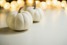 Pumpkins Or White Gourds. Fall Or Autumn Festive Background. Thanksgiving. Selective Focus, Copy Space
