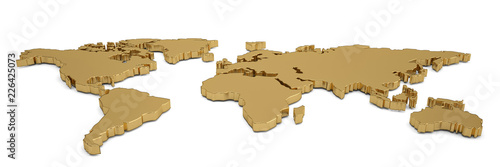 Fototapeta Golden world map isolated on white background 3D illustration. obraz