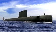 Naval Submarine At  Open Sea