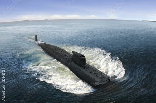 Naval submarine at  open sea Fototapeta