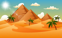 Desert Background With Pyramid...