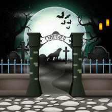 Halloween Background With Cemetery In Full Moon