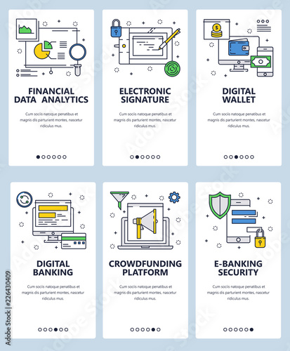 Vector Web Site Linear Art Onboarding Screens Template Digital Banking And Online Money Transfer Finance Data Ytics Menu Banners For Website