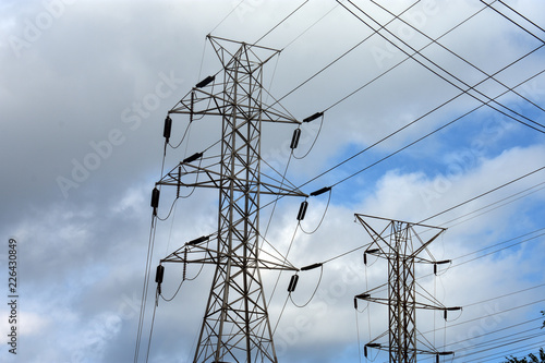 Fotografie, Obraz  Caution - High voltage electrical power tower and cables