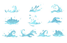 Water Splashes Collection Blue Waves Wavy Symbols