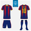 Soccer jersey or football kit, shorts, sock template design for sport club. Football t-shirt mock up. Front and back view soccer uniform. Flat football logo design on blue label. Vector Illustration.