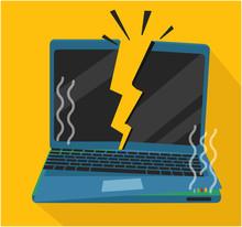Burned And Crashed Laptop Comp...