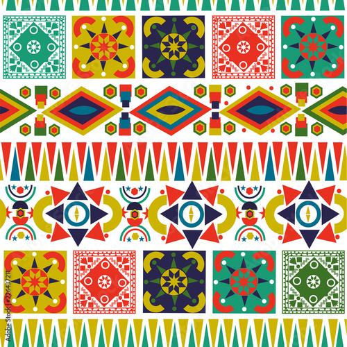 Valokuva  Bohemian folk abstract patchwork seamless pattern