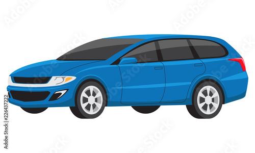 Foto op Canvas Cartoon cars Modern blue minivan family car