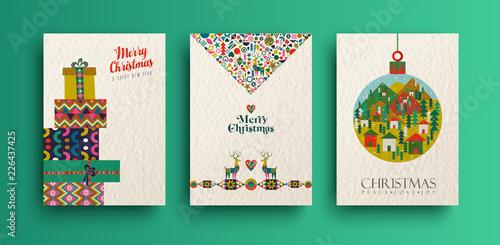 Fotografija  Merry christmas vintage folk card collection