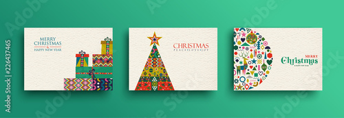 Merry Christmas retro folk art card collection Wallpaper Mural