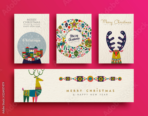Fotografija  Merry Christmas folk art holiday card collection