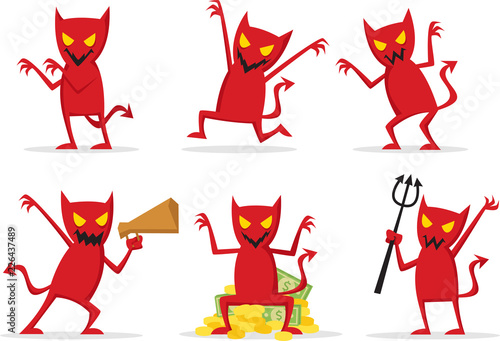 Canvas Print Red devil with many expression and many pose