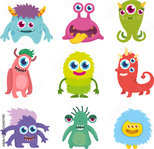 Funny Cute Little Monster Set Fototapeta