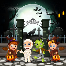 Cartoon Happy Kids With Halloween Costume