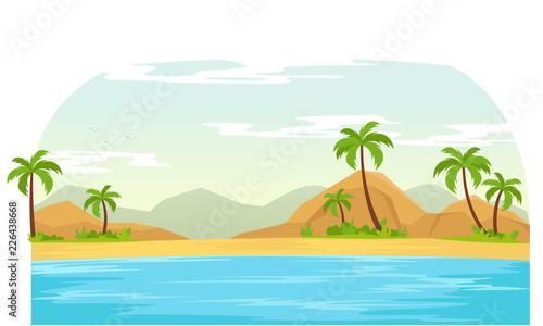 Foto op Aluminium Blauw Summer time in beach landscape vector