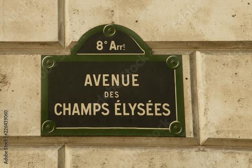 Fotografie, Obraz  Street sign of Paris's famed Champs Elysees