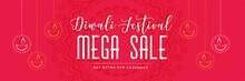 Red Diwali Mega Sale Banner With Hanging Diya
