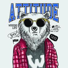 Hand Drawn Bear Vector Design For T Shirt Printing