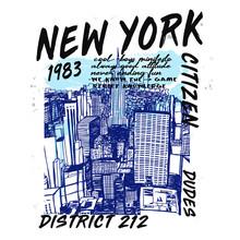 Hand Drawn New York Vector Design For T Shirt Printing