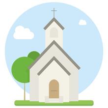 Small Urban Church Flat Vector