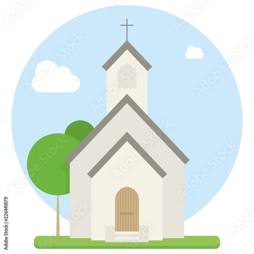 Leinwand Poster Small urban church flat vector