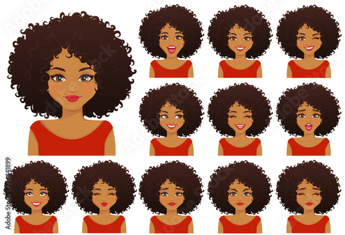 Fotografía  African american woman with different facial expressions and afro hairstyle set