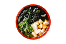 Closeup Top View Image Of Miso Japanese Soup With Tofu And Green Onion Isolated At White Background.