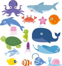 Ocean Animal Fish Whale Crab O...