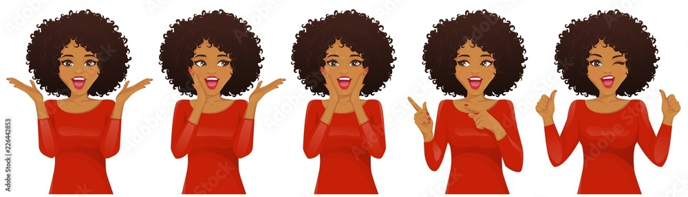 Fototapeta Surprised african american woman with afro hairstyle and open mouth set isolated vector illustration