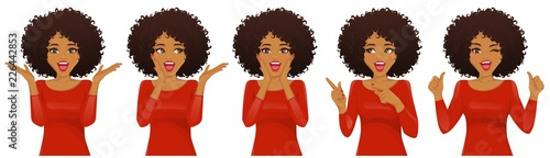 Surprised african american woman with afro hairstyle and open mouth set isolated vector illustration - fototapety na wymiar