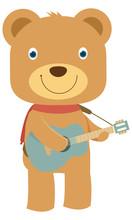 Happy Cute Brown Teddy Bear Pl...