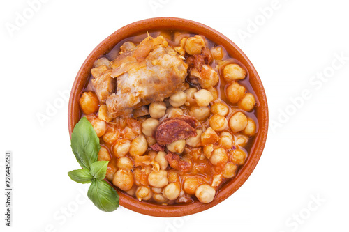 casserole of stewed chickpeas isolated