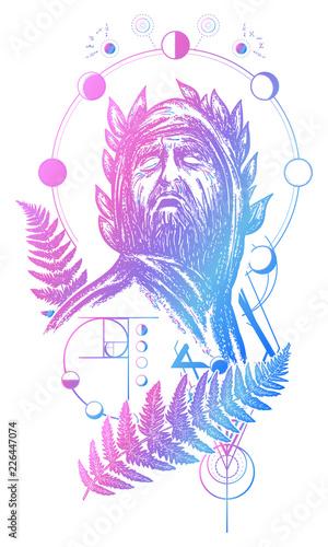 Scientist tattoo and t-shirt design  Great prophet, genius, creator