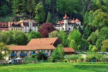 KURORT RATHEN, GERMANY - April 29th, 2018: Village of Rathen in Saxon Switzerland National park, popular travel destination in Germany