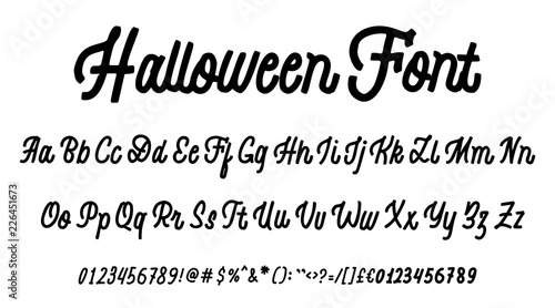 Fototapeta Halloween Font Hand Drawn Typeface Set Isolated On White Vector Logo Font Typography Alphabet For Your Designs Logo Typeface Card