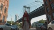 Attractive girl at the Manhattan Bridge