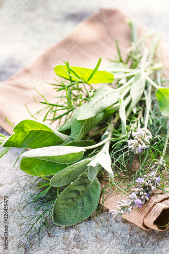 Provence Herbs. Rustic bouquet with salvia, lavender, dill, rosemary on