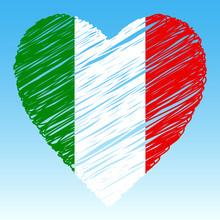 Italy Flag, Heart Shape, Grunge Style.