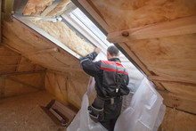 Back View Of Roofer Builder Wo...