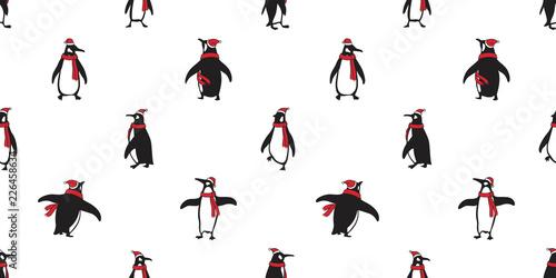 Fotografie, Tablou penguin Seamless pattern vector Christmas Santa Claus Hat Xmas bear polar salmon