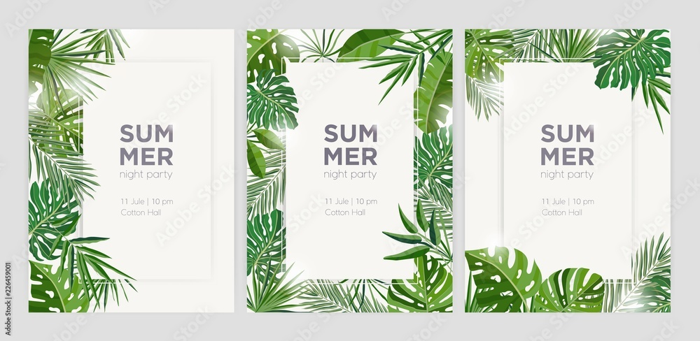 Fototapety, obrazy: Collection of vertical summer backgrounds with frames or borders made of green tropical palm leaves or jungle exotic foliage and place for text. Seasonal colorful realistic vector illustration.