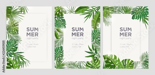 Collection of vertical summer backgrounds with frames or borders made of green tropical palm leaves or jungle exotic foliage and place for text Canvas
