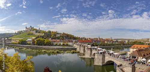 fortress Marienberg and old historic bridge crossing river Main in Wuerzburg, Germany