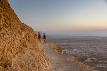 The Snake Path At Sunrise Leading Up To Masada Fortress At The Edge Of The Judean Desert, Israel.