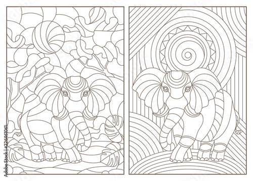 Fototapeta  Set of contour illustrations of stained glass Windows with elephants, dark conto