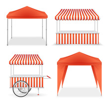 Realistic Detailed 3d Red And Striped Blank Market Stall Template Mockup Set. Vector