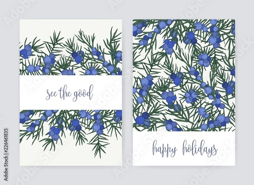 Fototapeta Bundle of postcard templates with juniper berries and leaves on white background and holiday wish. Set of cards decorated by beautiful coniferous plant. Colorful hand drawn vector illustration. obraz