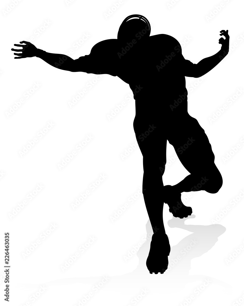 Photo  Detailed American Football player sports silhouette