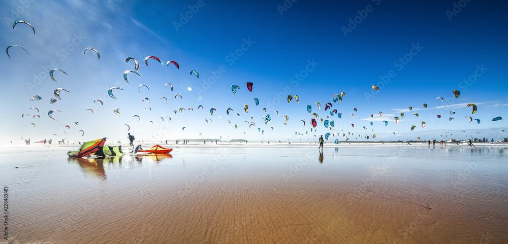 Fototapety, obrazy: Kite surfing at Essaouira Beach, Morocco